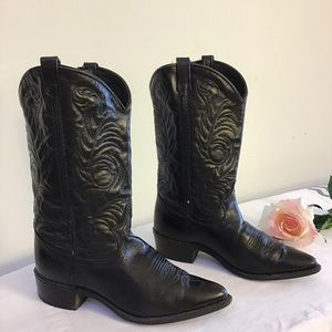 Acme black leather western boots, size 7.5